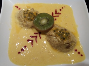 Semolina pudding with passionfruit and mangosauce
